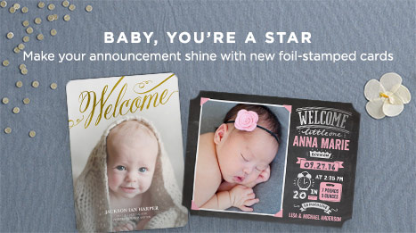Foil-stamped Birth Announcements