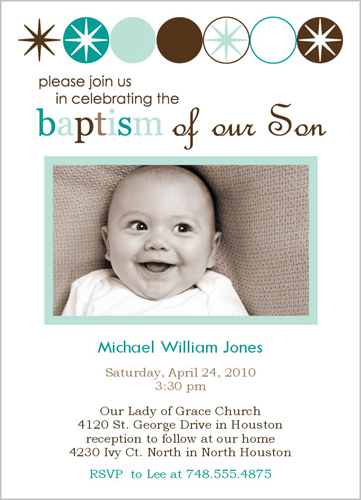 For those doing joint baptismbday parties invites ugh and where it says reception to follow i put first birthday party to follow the back of the card also had a space for one picture so i put a pic of stopboris