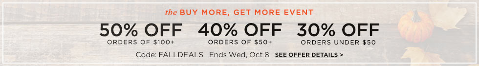 Save 30%, 40%, or 50% on your entire order