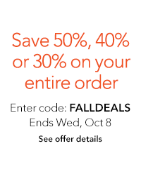 Save 30%, 40%, or 50% on your order