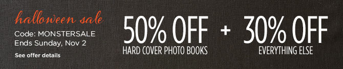 50% off hard cover photo books + 30% off everything else