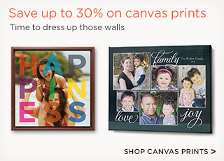 Save up to 30% on canvas prints