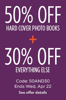 50% off hard cover books + 30% off everything else