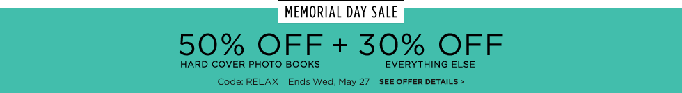 Save 50% on hard cover books + 30% off everything else