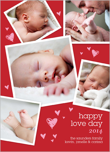 Valentine's Day photo card with newborn