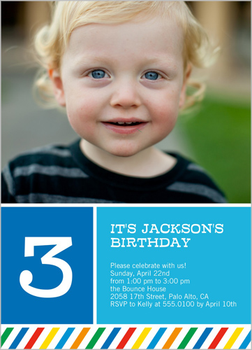 Rainbow Striped Boy Birthday Invitation
