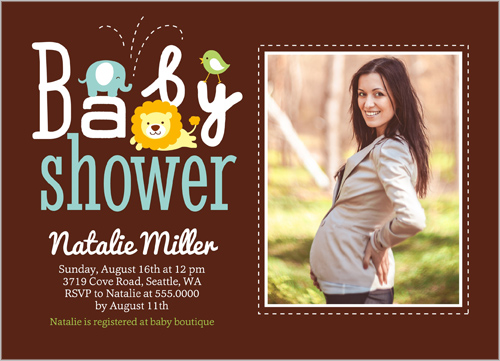 Zoo Babies Boy Baby Shower Invitation