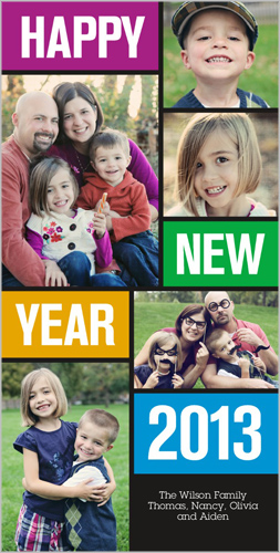 Bright Color Blocks New Year's Card
