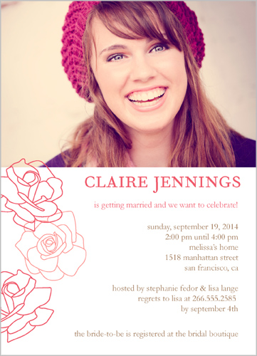 Roses Are Pink Bridal Shower Invitations   Bridal Invitations
