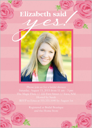 Roses And Stripes Bridal Shower Invitations   Bridal Invitations