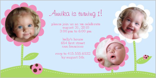 Baby Bloom Collage Birthday Invitation
