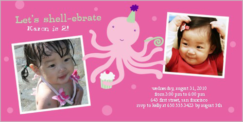 Shell-ebrate Pink Birthday Invitation