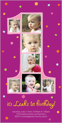 Number One Filmstrip Girl Birthday Invitation