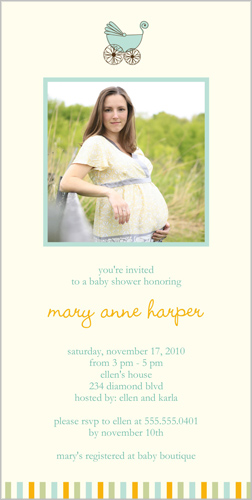 Baby Carriage Aqua Baby Shower Invitation