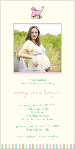 Baby Carriage Pink Baby Shower Invitation
