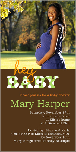 Hey Baby Baby Shower Invitation