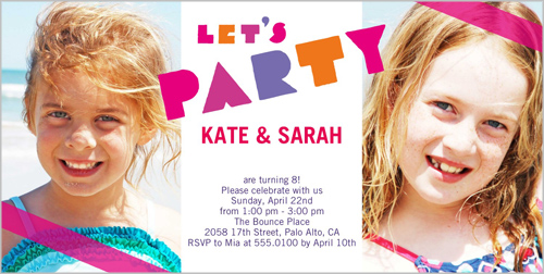 Party Girls Twin Birthday Invitation