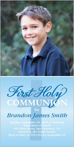 Heavenly Cross Boy Communion Invitation