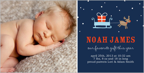 Reindeer Boy Birth Announcement