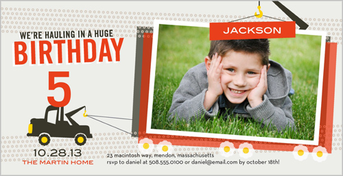 Terrific Tow Truck Birthday Invitation