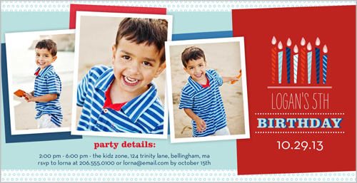 Wishing Candles Boy Birthday Invitation by pottsdesign