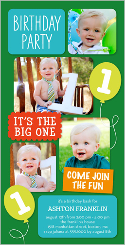 Balloon Fun Boy Birthday Invitation by Stacy Claire Boyd
