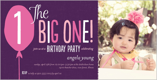 Big Balloon Wishes Girl Birthday Invitation