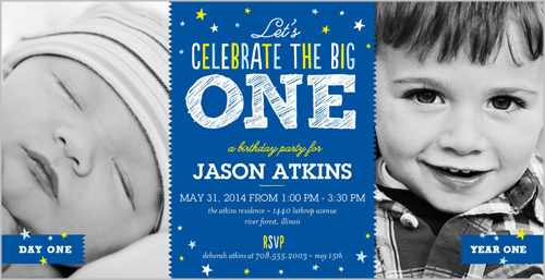 Big Celebration Boy Birthday Invitation by Float Paperie