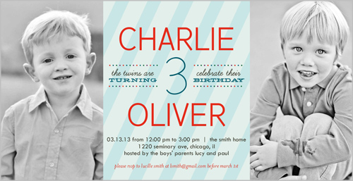Stripe Boys Twin Birthday Invitation by Float Paperie