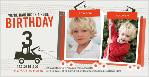 Twin Tow Trucks Twin Birthday Invitation by pottsdesign