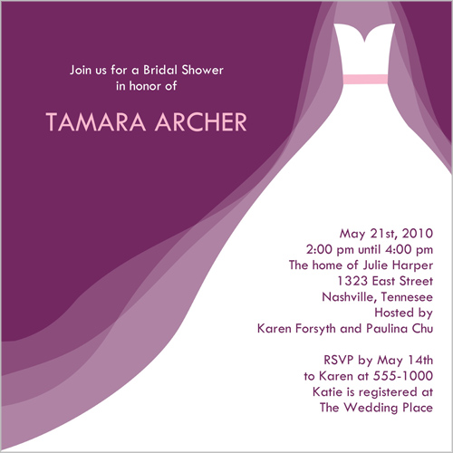 Wedding dress purple bridal shower invitation