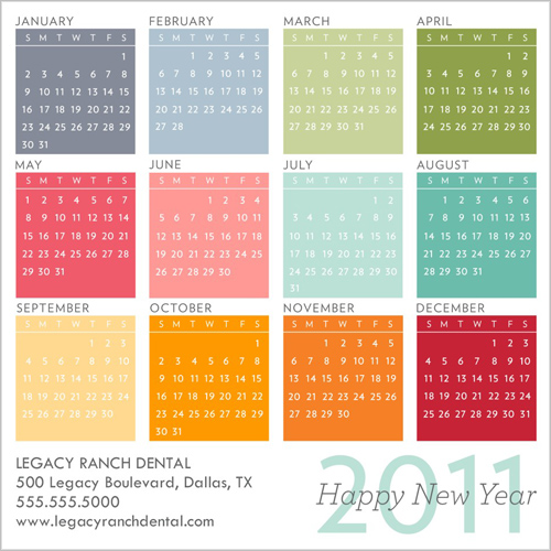 Colorful 2011 Calendar Business Holiday Card. by Blonde Designs