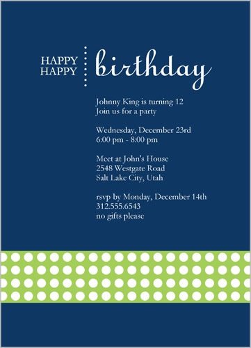 Happy Blue Party Invitation by Petite Lemon