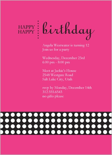 Happy Pink Party Invitation by Petite Lemon
