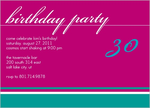 Birthday Fuchsia Party Invitation by Petite Lemon