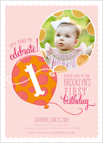 Up Up Away Girl Birthday Invitation by pottsdesign