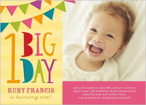 Flag Bunting Girl Birthday Invitation by Stacy Claire Boyd