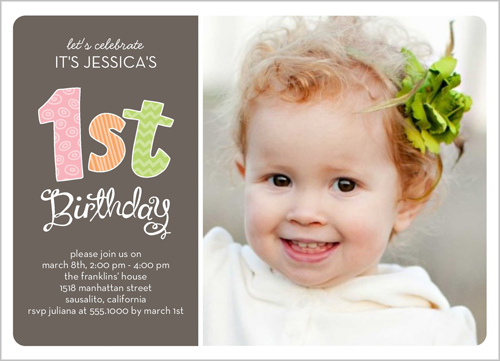 Patterned First Girl Birthday Invitation by Stacy Claire Boyd
