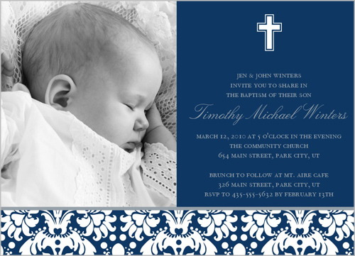 Baptism Baroque Navy Baptism Invitation by Petite Lemon