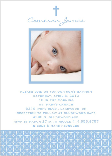 Angelic Cross Blue Baptism Invitation by Petite Lemon