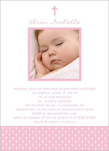 Angelic Cross Pink Baptism Invitation by Petite Lemon