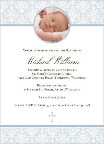 Beatific Damask Blue Baptism Invitation by Petite Papier