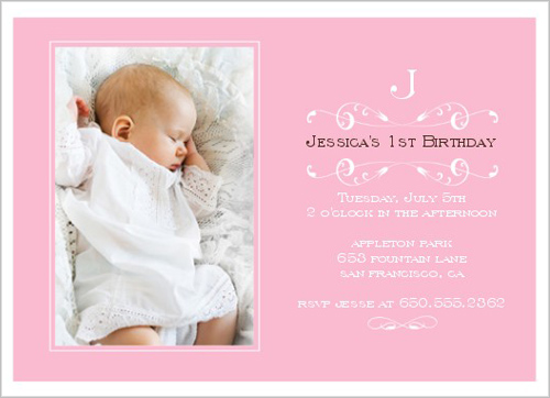 Elegant Pink Baptism Invitation by Petite Lemon