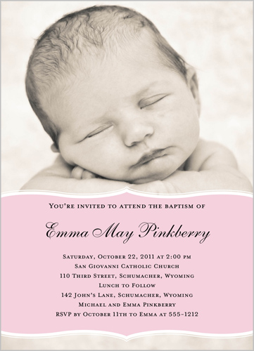 Pretty Precious Pink Baptism Invitation by Petite Lemon