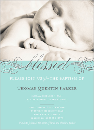 Little Blessed Blue Baptism Invitation by Float Paperie