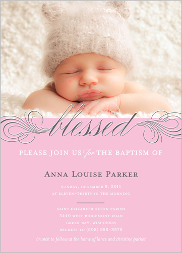 Little Blessed Rose Baptism Invitation