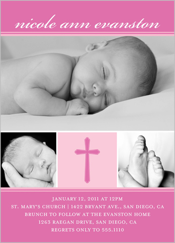 Modern Cross Pink Baptism Invitation by Petite Lemon