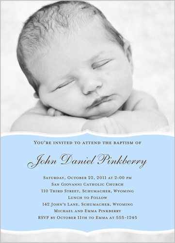 Pretty Precious Blue Baptism Invitation by Petite Lemon