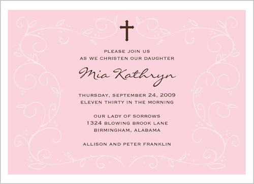 Pink Faith Baptism Invitation by Stacy Claire Boyd