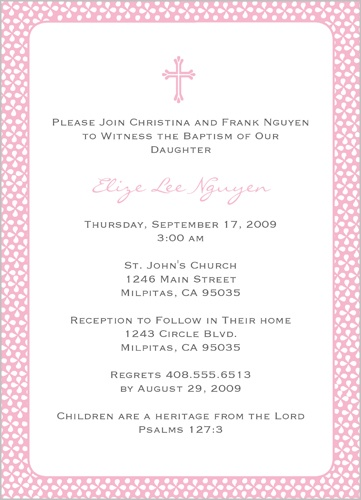 Pink Sprinkles Baptism Invitation by Yours Truly
